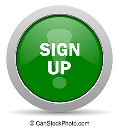 sign up green glossy web icon