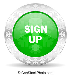 sign up green icon, christmas button