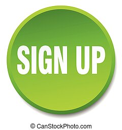sign up green round flat isolated push button