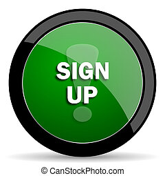 sign up green web glossy icon with shadow on white background