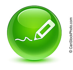Sign up icon glassy green round button