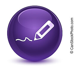 Sign up icon glassy purple round button