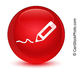 Sign up icon glassy red round button