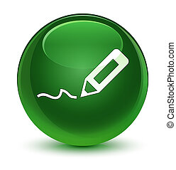 Sign up icon glassy soft green round button