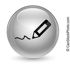 Sign up icon glassy white round button