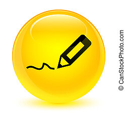 Sign up icon glassy yellow round button