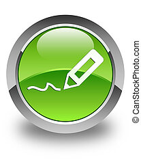 Sign up icon glossy green round button