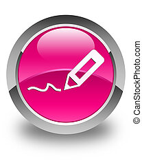 Sign up icon glossy pink round button