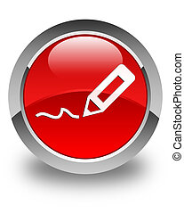 Sign up icon glossy red round button
