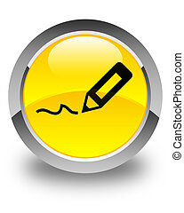 Sign up icon glossy yellow round button