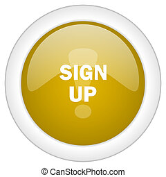 sign up icon, golden round glossy button, web and mobile app design illustration