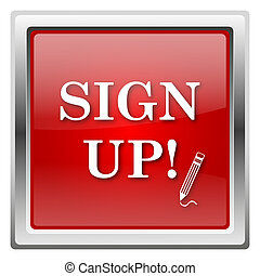 Sign up icon - Metallic icon with white design on red ...