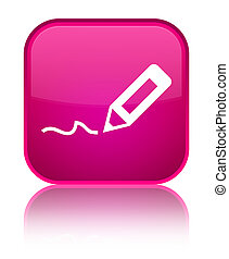 Sign up icon special pink square button