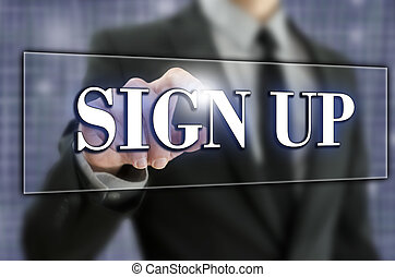 Sign Up in text on a virtual screen