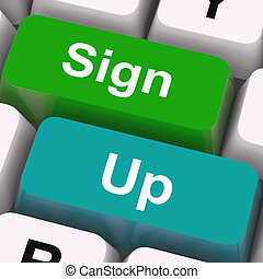 Sign Up Keys Mean Registration And Membership
