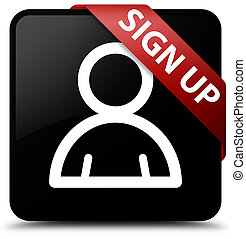 Sign up (member icon) black square button red ribbon in corner