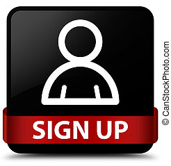 Sign up (member icon) black square button red ribbon in middle