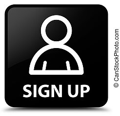 Sign up (member icon) black square button