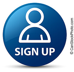 Sign up (member icon) blue round button