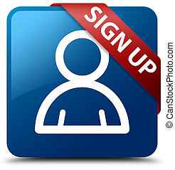 Sign up (member icon) blue square button red ribbon in corner
