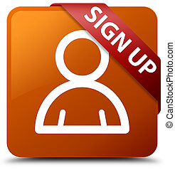 Sign up (member icon) brown square button red ribbon in corner