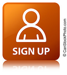 Sign up (member icon) brown square button