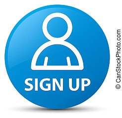 Sign up (member icon) cyan blue round button