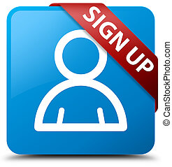 Sign up (member icon) cyan blue square button red ribbon in corner