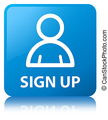 Sign up (member icon) cyan blue square button