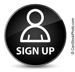 Sign up (member icon) elegant black round button