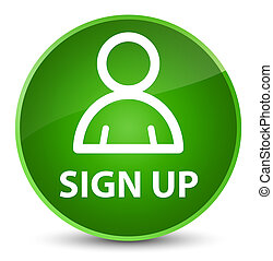 Sign up (member icon) elegant green round button