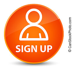 Sign up (member icon) elegant orange round button