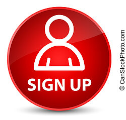 Sign up (member icon) elegant red round button