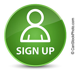 Sign up (member icon) elegant soft green round button