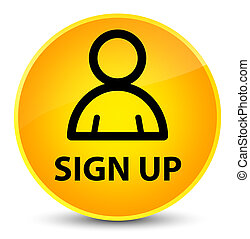 Sign up (member icon) elegant yellow round button