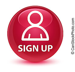 Sign up (member icon) glassy pink round button