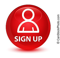 Sign up (member icon) glassy red round button