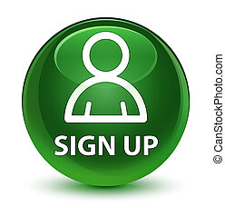 Sign up (member icon) glassy soft green round button