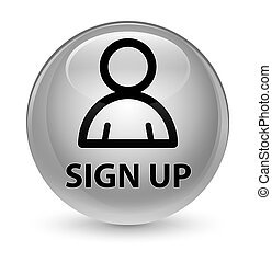 Sign up (member icon) glassy white round button