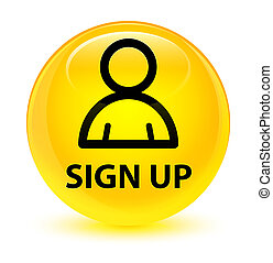 Sign up (member icon) glassy yellow round button