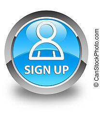 Sign up (member icon) glossy cyan blue round button