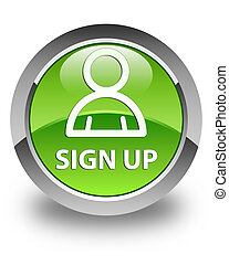 Sign up (member icon) glossy green round button