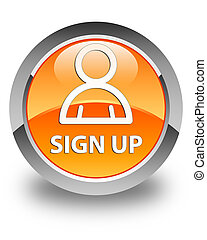 Sign up (member icon) glossy orange round button