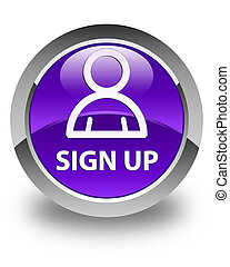 Sign up (member icon) glossy purple round button