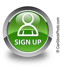 Sign up (member icon) glossy soft green round button