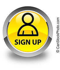 Sign up (member icon) glossy yellow round button