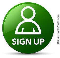 Sign up (member icon) green round button