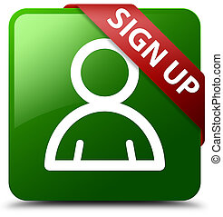 Sign up (member icon) green square button red ribbon in corner