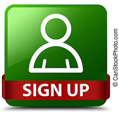 Sign up (member icon) green square button red ribbon in middle