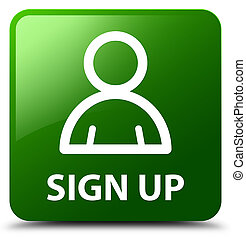 Sign up (member icon) green square button